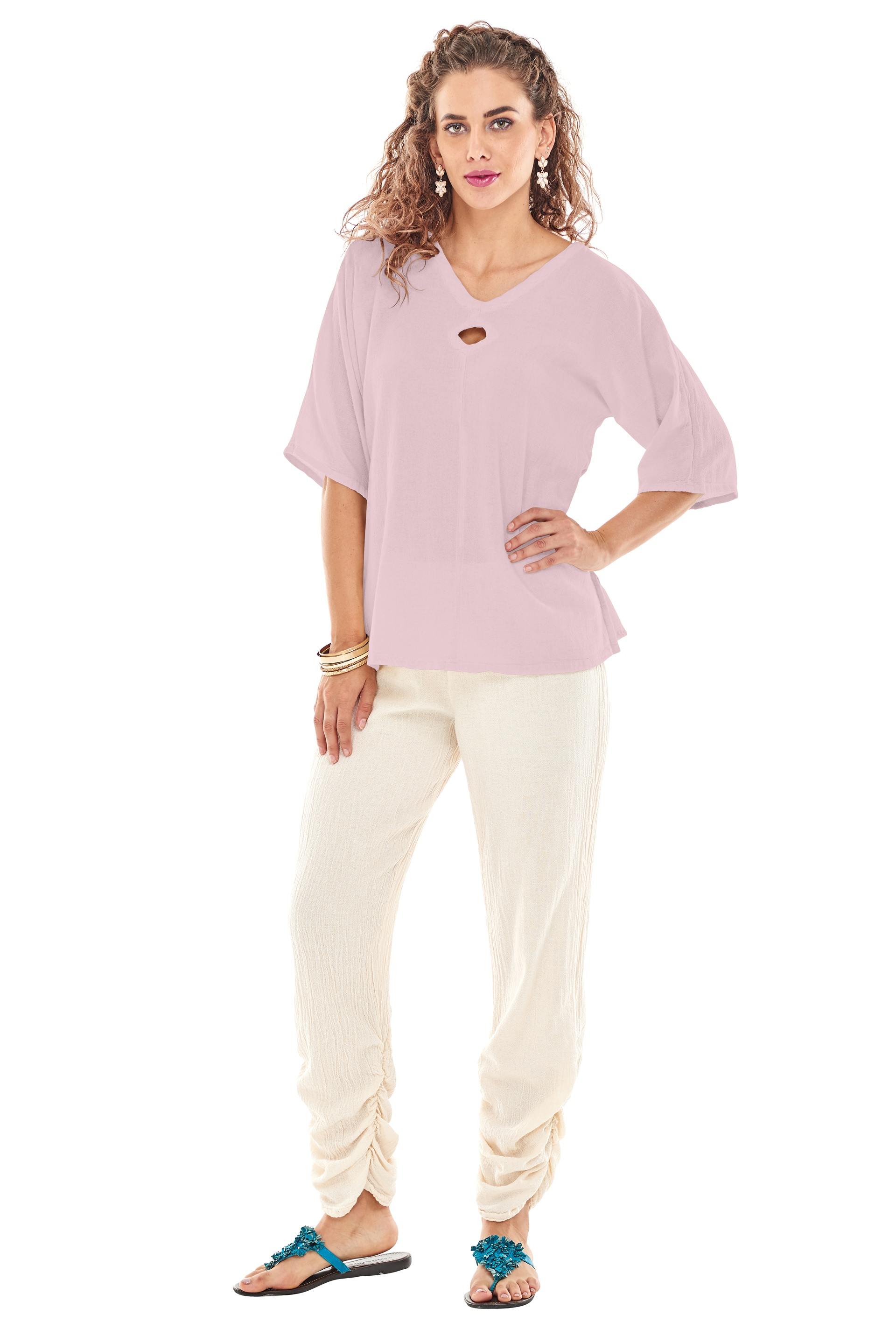 Top 100 Cute Girls Hairstyles: Oh My Gauze Coco Blouse Lagenlook Tunic Top 100% Cotton