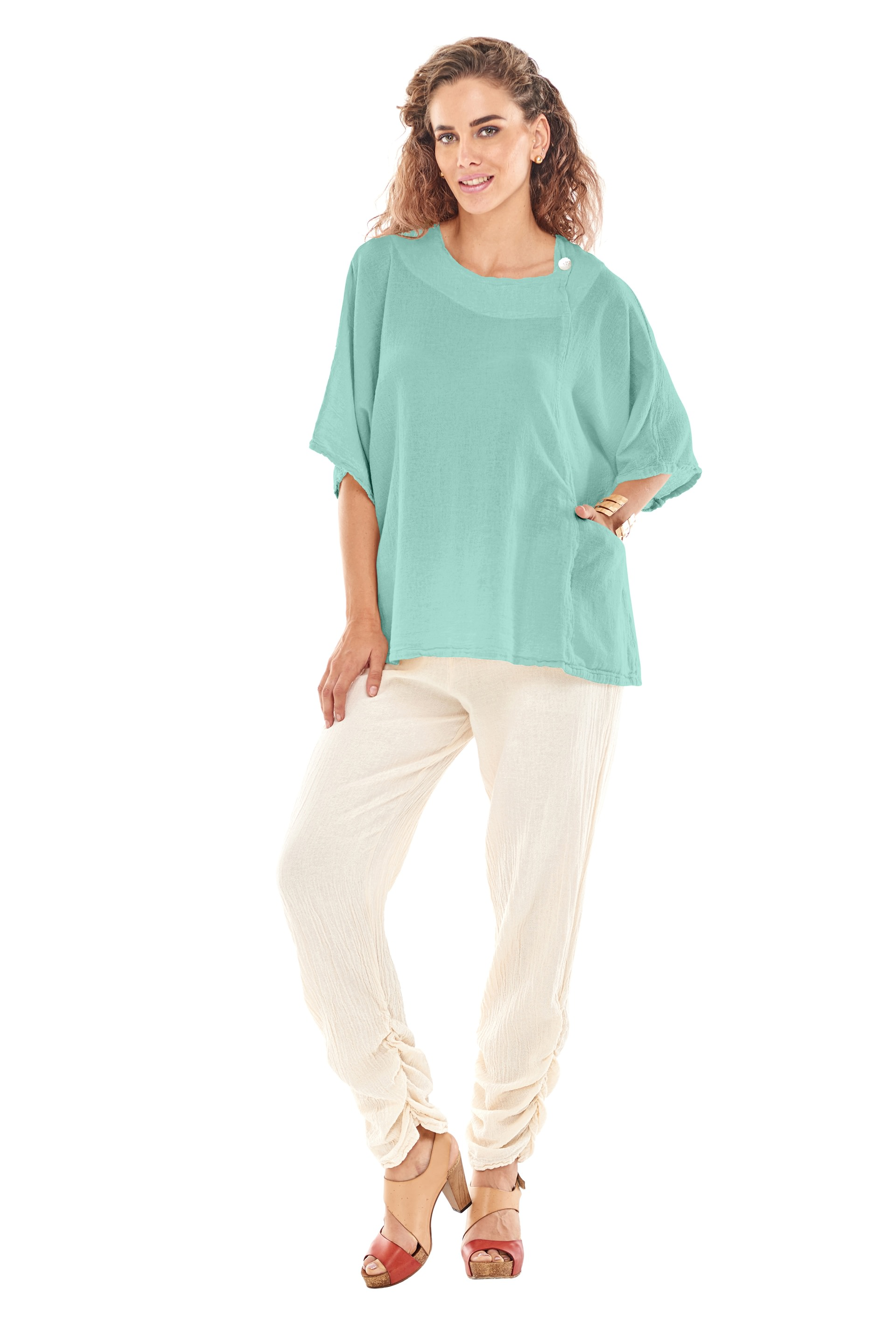 Top 100 Cute Girls Hairstyles: Oh My Gauze Athena Blouse Tunic Top 100% Cotton Lagenlook